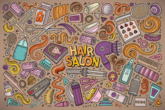 Комплект шаржа вектора объектов темы парикмахерской Стоковое Фото