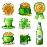Комплект шаржа значков зеленого цвета дня St. Patrick, Стоковое Фото
