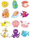 Комплект шаржа морских животных Стоковые Изображения