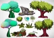 Комплект шаржа покрасил дерево для пользы в игре и анимации Стоковое Изображение RF