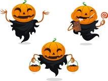 Комплект шаржа хеллоуина фонарика Джека o бесплатная иллюстрация