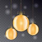 Комплект шариков рождества золота с линией смычком Игрушка рождества праздника Стоковая Фотография RF