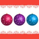 Комплект шариков рождества с снежинками иллюстрация вектора