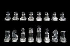 Комплект шахмат изолированный на черноте Стоковое фото RF