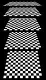 Комплект шахмат, checkered доск в перспективе иллюстрация вектора