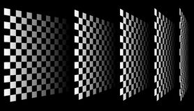 Комплект шахмат, checkered доск в перспективе иллюстрация штока