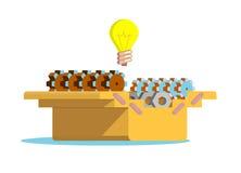 Комплект шестерней в коробке для инструментов иллюстрация штока