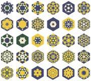 Комплект шестиугольных покрашенных орнаментов в стиле Moorish иллюстрация вектора