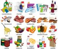 Комплект шестьдесят четыре значков супермаркета бесплатная иллюстрация