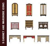 Комплект шкафа, шкафа и значков таблицы сочинительства Иллюстрация штока