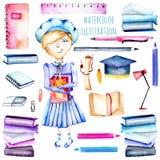 Комплект школьницы акварели умных, книг и канцелярских принадлежностей возражает бесплатная иллюстрация