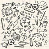 Комплект школьных принадлежностей шаржа иллюстрация вектора