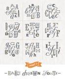 Комплект шрифтов нарисованных рукой различных Стоковая Фотография RF