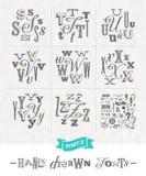 Комплект шрифтов нарисованных рукой различных Стоковые Изображения