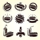 Комплект штемпелей и ярлыков хот-дога вектор бесплатная иллюстрация