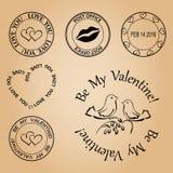 Комплект штемпелей на день валентинки - элементов Стоковая Фотография RF