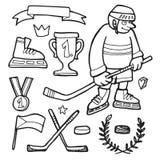 Комплект шуточной нарисованных рукой эскизов doodle хоккея на льде, Стоковое фото RF