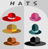 Комплект шляп к стилю mod плоскому Головы различных людей a Стоковое фото RF