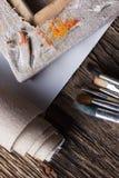 Комплект щеток для красить, холст, сшиватель, штапеля, подрамник Стоковые Изображения