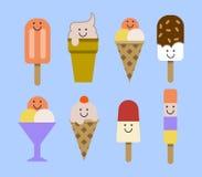 комплект льда плодоовощ шоколада cream Иллюстрация EPS вектора Стоковое Изображение RF