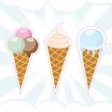комплект льда плодоовощ шоколада cream иллюстрация штока