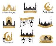 Комплект эмблем на исламский святой праздник Рамазан и другое Арабские традиции приветствие mubarak eid бесплатная иллюстрация