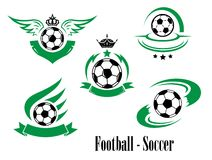 Комплект эмблем футбола или футбола Стоковые Изображения