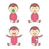 Комплект эмоции ребёнка шаржа Смайлик новорожденного ребенка или младенца бесплатная иллюстрация