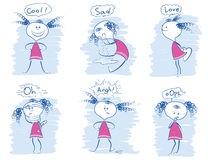 Комплект эмоций маленькой девочки Иллюстрации притяжки руки doodle вектора Стоковые Изображения