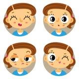 Комплект 4 эмоций маленькой девочки Стоковое Фото