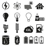 Комплект энергии и иконы ресурса Стоковое Изображение RF