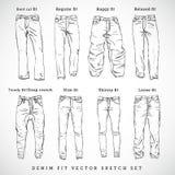 Комплект эскиза вектора джинсовой ткани подходящей нарисованный рукой Стоковые Изображения