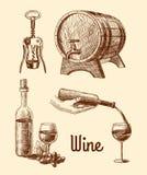 Комплект эскиза вина декоративный Стоковое Изображение RF