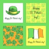 Комплект эскиза плакатов дня St. Patrick иллюстрация штока