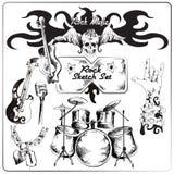 Комплект эскиза рок-музыки Стоковые Изображения