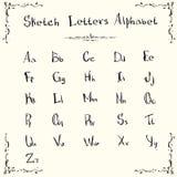 Комплект эскиза собрания прописных букв алфавита малой нарисованный рукой Стоковое Изображение RF
