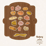 Комплект эскиза хлебопекарни Иллюстрация штока