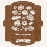 Комплект эскиза ярлыка хлебопекарни Бесплатная Иллюстрация
