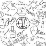 Комплект эскизов - летние каникулы на море Стоковые Изображения RF