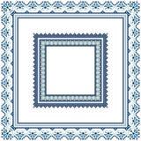 Комплект этнических рамок картины орнамента в голубых цветах Стоковые Изображения RF