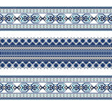 Комплект этнической картины орнамента в голубых цветах Стоковое Фото