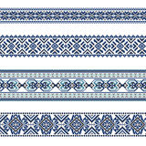 Комплект этнической картины орнамента в голубых цветах Стоковое Изображение