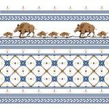 Комплект этнической картины орнамента праздника в других цветах Стоковое Изображение