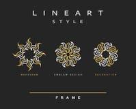 Комплект элегантной линии дизайна искусства Элемент дизайна вензеля Стоковые Изображения