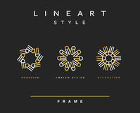 Комплект элегантной линии дизайна искусства Элемент дизайна вензеля Стоковая Фотография RF