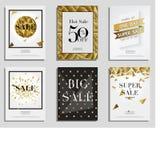 Комплект элегантных знамен продажи с золотой рамкой Стоковые Изображения