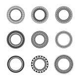 Комплект 9 элегантных круглых рамок Стоковое Изображение RF