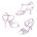 Комплект элегантных сделанных эскиз к ботинок женщины s Стоковое Изображение