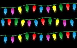 Комплект электрических лампочек рождества цвета иллюстрация вектора