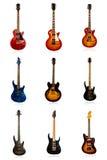 Комплект 9 электрических гитар Стоковое Изображение RF